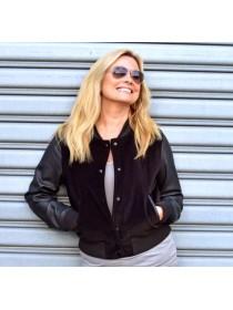 Rag and Bone black cotton/velvet jacket with leather sleeves