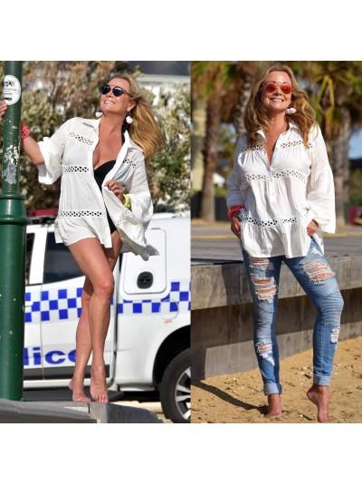 White Shirt/Beach cover up